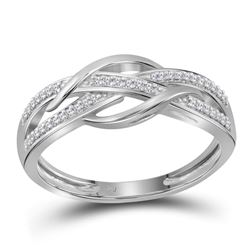Diamond Woven Strand Band Ring 1/10 Cttw 10kt White Gold