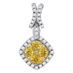 Round Yellow Diamond Diagonal Square Frame Cluster Pendant 1.00 Cttw 14kt White Gold