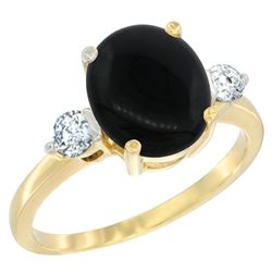 1.75 CTW Onyx & Diamond Ring 10K Yellow Gold - REF-60F2N