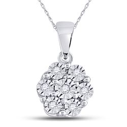 Diamond Cluster Pendant 1/20 Cttw 10kt White Gold