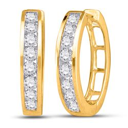 Diamond Hoop Earrings 1/4 Cttw 10kt Yellow Gold