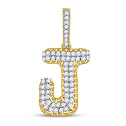 "Mens Diamond ""J"" Letter Charm Pendant 1-1/4 Cttw 10kt Yellow Gold"