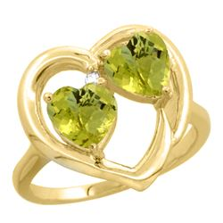 2.60 CTW Lemon Quartz & Diamond Ring 10K Yellow Gold - REF-23Y2V