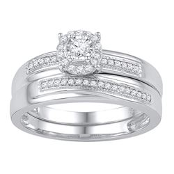 Diamond Bridal Wedding Engagement Ring Band Set 1/4 Cttw 10k White Gold