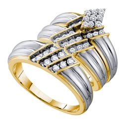 His & Hers Diamond Cluster Matching Bridal Wedding Ring Band Set 3/4 Cttw 14kt Two-tone Gold
