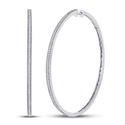 Diamond Large Slender Milgrain Hoop Earrings 1/2 Cttw 10kt White Gold