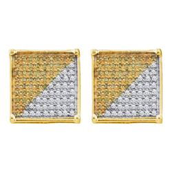 Mens Round Yellow Color Enhanced Diamond Square Cluster Earrings 1/6 Cttw 10kt Yellow Gold