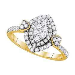 Diamond Oval Double Halo Cluster Ring 1/2 Cttw 14kt Yellow Gold