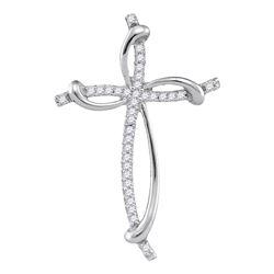Diamond Slender Curved Open Cross Pendant 1/10 Cttw 10kt White Gold