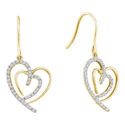 Diamond Heart Dangle Wire Earrings 3/8 Cttw 10kt Yellow Gold
