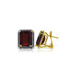 Genuine 15.4 ctw Garnet & Black Diamond Earrings 14KT Yellow Gold - REF-131R2P
