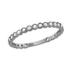 Diamond Bezel Set Stackable Band Ring 1/5 Cttw 10kt White Gold
