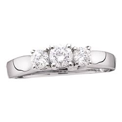 Diamond 3-stone Bridal Wedding Engagement Ring 1-1/2 Cttw 14kt White Gold
