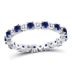 Round Blue Sapphire Diamond Eternity Band Ring 1.00 Cttw 10kt White Gold
