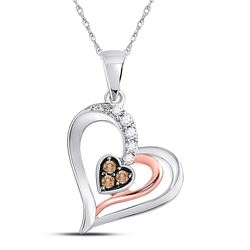 Round Brown Diamond Heart Pendant 1/8 Cttw 10kt Two-tone Gold