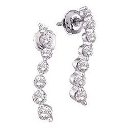 Diamond Journey Love Anniversary Screwback Stud Earrings 1/4 Cttw 14k White Gold