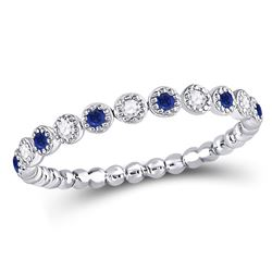 Round Blue Sapphire Diamond Beaded Dot Stackable Band Ring 1/6 Cttw 10kt White Gold