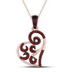Round Red Color Enhanced Diamond Heart Pendant 1/6 Cttw 10kt Rose Gold