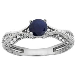 0.85 CTW Blue Sapphire & Diamond Ring 14K White Gold - REF-104M2A