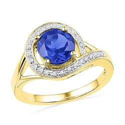 Round Lab-Created Blue Sapphire Solitaire Diamond Ring 1-7/8 Cttw 10kt Yellow Gold