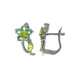 Genuine 1.72 ctw Blue Topaz & Peridot Earrings 14KT White Gold - REF-40Y5F