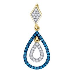 Round Blue Color Enhanced Diamond Teardrop Pendant 1/5 Cttw 10kt Yellow Gold