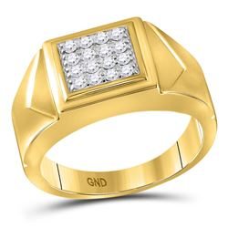 Mens Diamond Square Cluster Faceted Fashion Ring 1/3 Cttw 10kt Yellow Gold