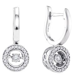 Diamond Moving Twinkle Dangle Earrings 1/3 Cttw 10kt White Gold