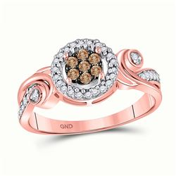 Round Brown Diamond Fashion Cluster Ring 1/4 Cttw 10kt Rose Gold