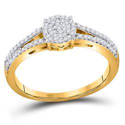 Diamond Split-shank Circle Cluster Ring 1/5 Cttw 10kt Yellow Gold