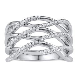 Diamond Openwork Crossover Strand Band Ring 1/4 Cttw 10kt White Gold