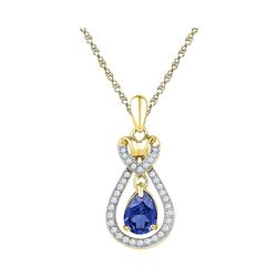Oval Lab-Created Blue Sapphire Solitaire Pendant 1/6 Cttw 10kt Yellow Gold