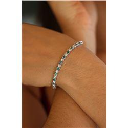 Natural 6.13 ctw White & Blue Diamond Eternity Tennis Bracelet 14K White Gold - REF-408Z2R