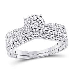 Diamond Bridal Wedding Engagement Ring Band Set 1/3 Cttw 10kt White Gold