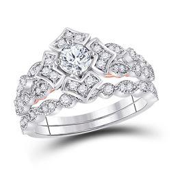 Diamond Bridal Wedding Engagement Ring Band Set 3/4 Cttw 14kt Two-tone Gold