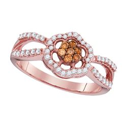 Round Brown Diamond Cluster Ring 1/3 Cttw 10kt Rose Gold