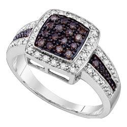 Round Brown Diamond Cluster Ring 1/2 Cttw  14kt White Gold