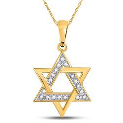 Diamond Star Magen David Jewish Pendant 1/10 Cttw 10kt Yellow Gold