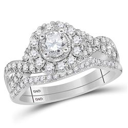 Diamond Twist Bridal Wedding Engagement Ring Set 1.00 Cttw 14kt White Gold