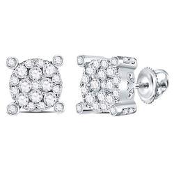 Diamond Corner Cluster Earrings 1/2 Cttw 14kt White Gold