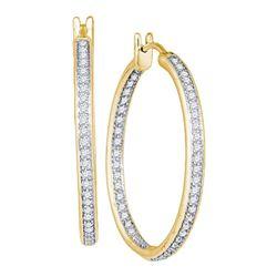 Diamond Single Row Inside Outside Hoop Earrings 1.00 Cttw 14kt Yellow Gold