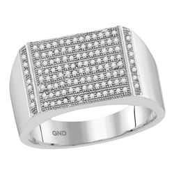 Mens Round Pave-set Diamond Rectangle Cluster Ring 1/3 Cttw 10kt White Gold