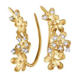 Diamond Floral Climber Earrings 1/10 Cttw 10kt Yellow Gold