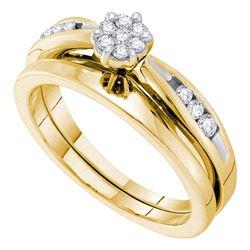 Diamond Cluster Bridal Wedding Engagement Ring Band Set 1/4 Cttw 14k Yellow Gold