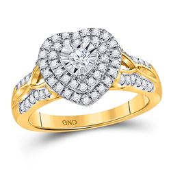 Diamond Solitaire Heart Ring 1/2 Cttw 10kt Yellow Gold