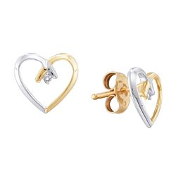 2-tone Diamond Heart Stud Earrings .02 Cttw 10kt Yellow Gold
