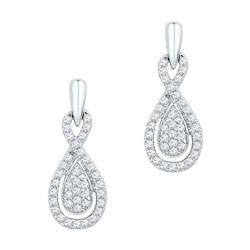 Diamond Oval-shape Dangle Screwback Earrings 1/3 Cttw 10k White Gold