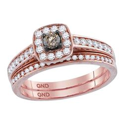 Round Brown Diamond Bridal Wedding Engagement Ring Band Set 1/2 Cttw 14kt Rose Gold