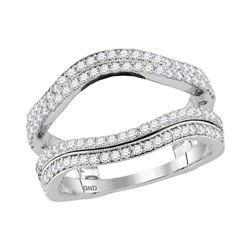 Diamond Wrap Ring Guard Enhancer Wedding Band 3/4 Cttw 14kt White Gold