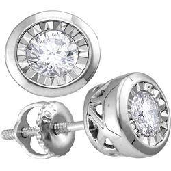 Diamond Solitaire Screwback Stud Earrings 1/4 Cttw 10kt White Gold